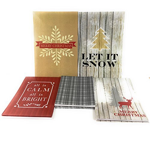 Christmas Holiday Gift Boxes with Elegant Wood Grain Look Merry Christmas Let it Snow and Other Designs Set of 10 includes 4 Lingerie 4 Shirt and 2 Robe