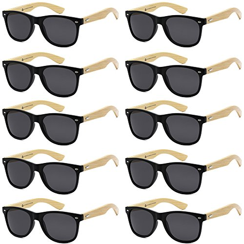 (WHOLESALE BAMBOO ECO FRIENDLY MODERN RETRO 80'S CLASSIC SUNGLASSES - 10 PACK (Matte Black | Smoke Lens, 52))
