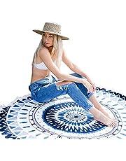 Canotagio Toalla de Playa de Microfibra con Hermoso Diseño Mandala de 1.5 MTS de Diámetro. Super Ligera y Secado Rápido. para Picnic, Hiking, Natación, Playa. Round Beach Towel with Mandala Design.
