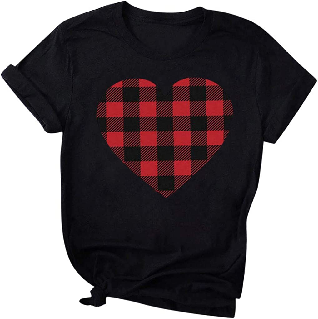 Topassion Womens Valentines T-Shirt Lovely Letter Print Tee Love Heart Plaid Print T-Shirt Short Sleeve Tops Blouse Tee Valentines Day Womens Short Sleeve T-Shirt Round Neck Casual