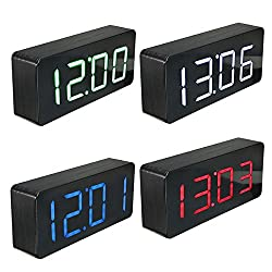 Acrylic Mirror Wooden Digital LED Alarm Clock Time Calendar Thermometer(Random: Color)