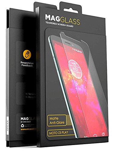 Magglass (Case Compatible) Moto Z3 Play Matte Screen Protector - Fingerprint Free Tempered Glass (Magglass XM90 Scratchproof/Shatterproof) Reinforced Anti Glare Screen Guard