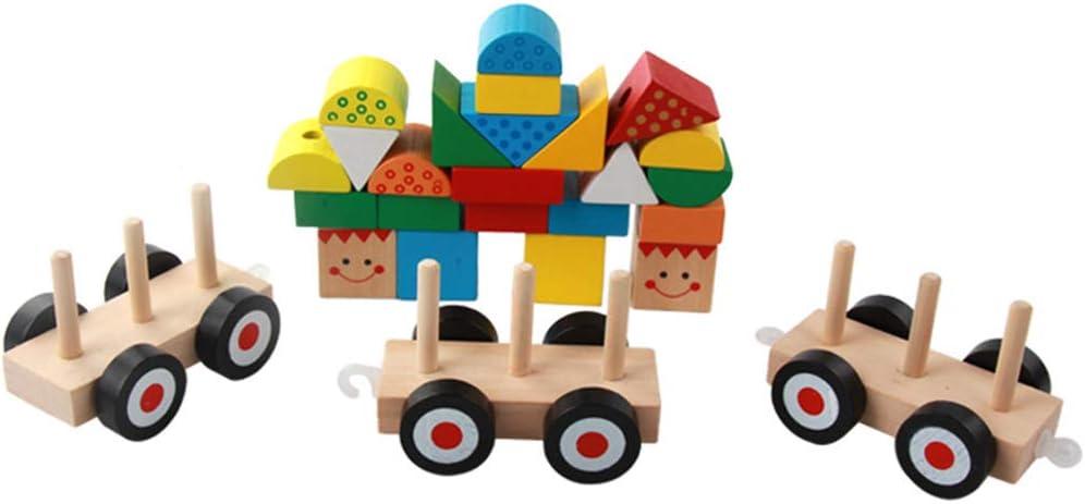 Juego de mesa de madera WOQOOK con tres bloques de madera, juguete pedagógico, multicolor, juguete de aprendizaje: Amazon.es: Oficina y papelería