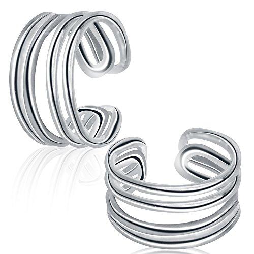 Sterling Silver Fake Cuff Earrings Clip on Non pierced Ear Hoops Unisex Cartilage Earrings (Cuff) (No Cuff Ear Pierce)