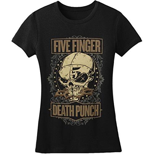 Five Finger Death Punch Ornate 2014 Tour Girls Jr Soft tee Black
