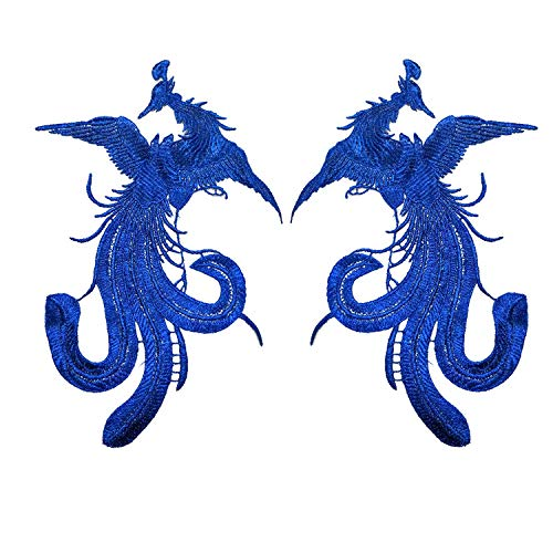 Ladies Thread Royal Blue - 1 Pairs Gold Thread Embroidered Phoenix Cloth Stickers Lady Rider t-Shirt t-Shirt Applique Clothing Manual DIY Sewing Accessories (Blue)