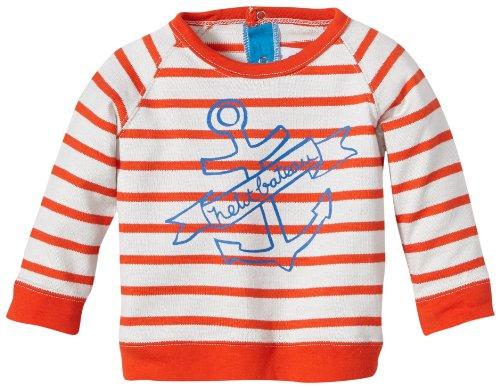Petit Bateau L/S Sweatshirt - Orange Stripes-3 Months (Sweatshirt Petit Cotton Bateau)