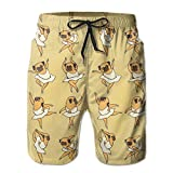 Mens/Men's Funny Ballet Pug Summer Beach Shorts Casual Pants Printing Quick Dry Beach Shorts Swim Trunk