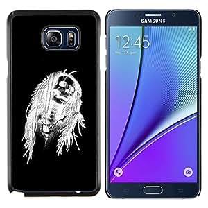 "Be-Star Único Patrón Plástico Duro Fundas Cover Cubre Hard Case Cover Para Samsung Galaxy Note5 / N920 ( Negro de Halloween Blanco Cráneo Esqueleto"" )"
