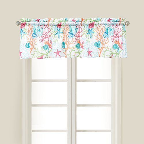 C&F Home Caribbean Splash Aqua Coastal Cotton Valance Set of 2 Valance Set of 2 Aqua