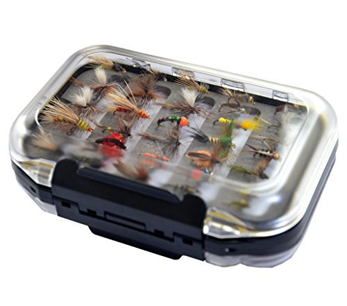 Go-to Dry Fly, Wet Fly, Nymph and Streamer Fly Lure Assotment + Waterproof Fly Box for Trout Fly Fishing Flies (Fly Fishing Partridge)