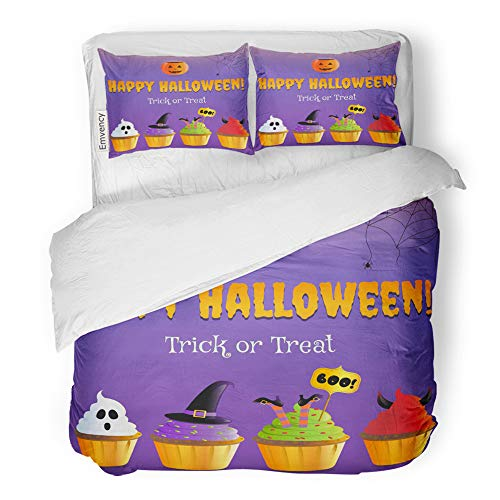 Emvency 3 Piece Duvet Cover Set Brushed Microfiber Fabric Breathable Orange Autumn Happy Halloween Party Trick Treat Scary Cupcakes Bakery Bedding Set with 2 Pillow Covers King Size