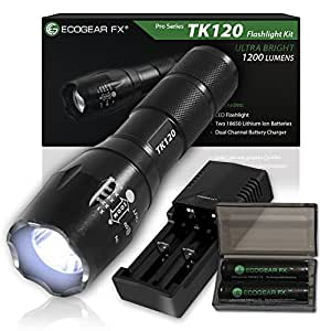 Complete LED Tactical Flashlight Kit - EcoGear FX TK120: A Complete LED Flashlight Kit with Zoom Function and 5 Light Modes - Includes Rechargeable Batteries, Battery Charger and a Durable Storage Box