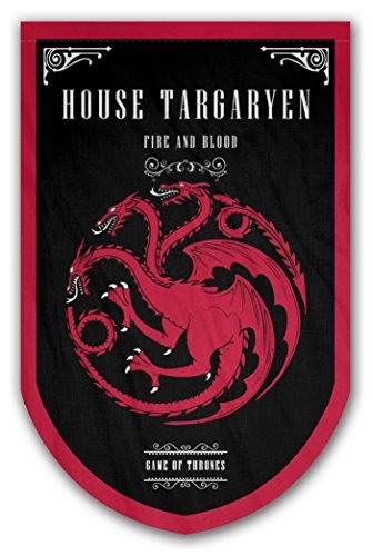Game of Thrones Style Banner - House Targaryen HQ Flag 37x24in - Printed on Both Sides - Durable Enough for Outside Conditions - Perfect Barware Man Cave Gift - Unique GOT Collectible Accessories