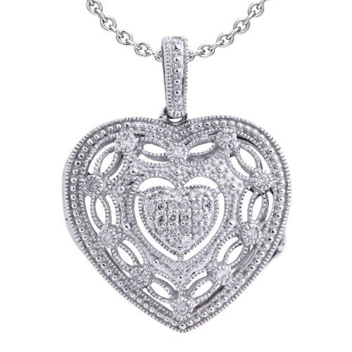 Ze Sterling Silver 1/5ct tw Diamond Heart Locket by ZE