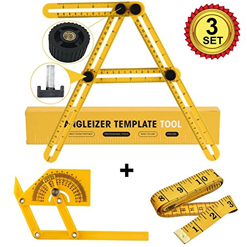 Multi Angleizer Ruler & Protractor & Measurement tape, Angle Template Tool Finder - 3 SET Bundle