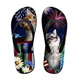 Creative Lovely Kitties With American Hat Unisex Comfortable Beach Flip Flops Sandals Slippers Sandal For Home & Beach