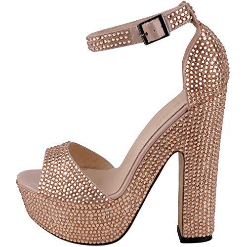 Shoelin Chunky Tacchi, Scintillante Open Toe Cinturino Alla Caviglia Piattaforma Strass Tacchi Alti Sandali Per Le Donne Champagne