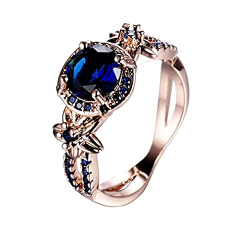 Cosines Jewelry - Vintage Round Cut Blue Sapphire Wedding Ring 10KT Rose Gold Filled Band Size 8 - Cut Halo Petite Diamond