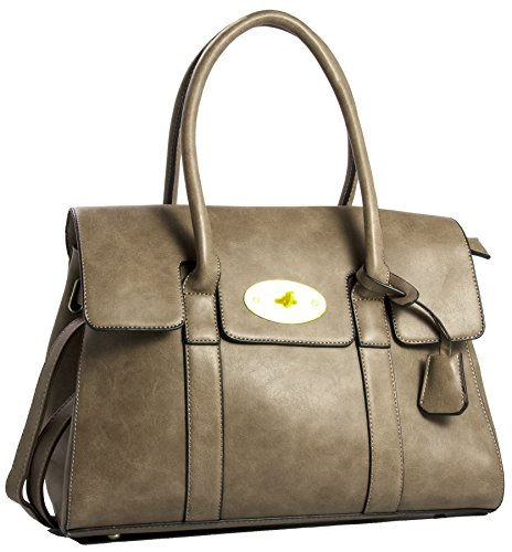 Big Handbag Shop Womens Large Vegan Leather Designer Boutique Top Handle Tote Shoulder Bag (Deep Taupe) ()