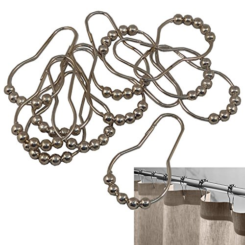 Mariposa Curtain (New Silver Heavy Duty Set of 12 Shower Curtain Rings Hooks Bathroom Poles Rod)
