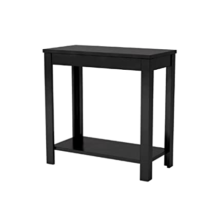Charming Loft End Table Black Wood Living Room Dorm Small Narrow Tall Sofa Side  Coffee Shelf Storage