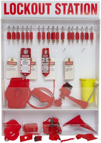 Brady Extra-Large Electrical and Mechanical Lockout Station, Includes 18 Safety Padlocks by Brady