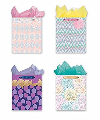 4 Large Party Gift Bags, All Occasion Gift Bags w/ Glitter & Foil Designs - Set of 4 Gift Bags w/Tags & Tissue Paper