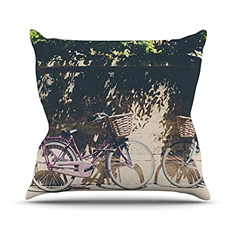 16 by 16 Brown Green Kess InHouse Laura Evans Pretty Bicycles Throw Pillow
