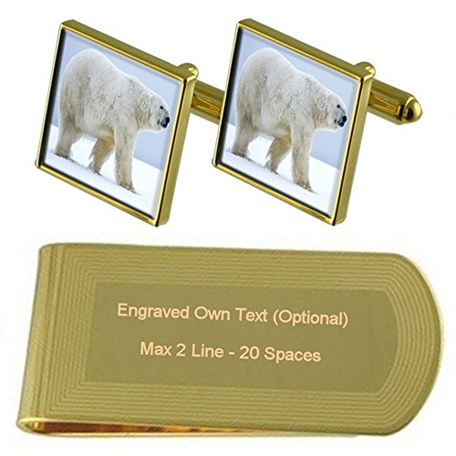 Cufflinks tone Engraved Bear Clip Set Gift Gold North Polar Money qw6Upp