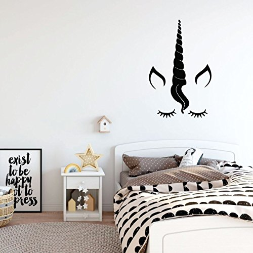 Fairy Personalized Wall Art (Unicorn Wall Decor - Eyelashes Vinyl Decal Personalized For Girl's Bedroom, Playroom or Bathroom - Kids Home Decorations)