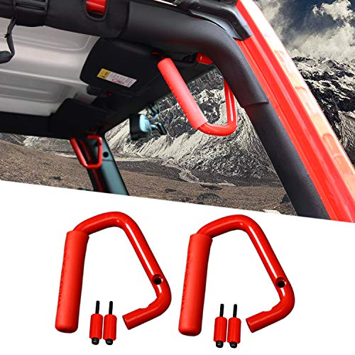 Voodonala Red Aluminum Alloy Roll Bar Grips Front Grab Handles Fit for 2007-2018 Jeep JK Wrangler & Unlimited
