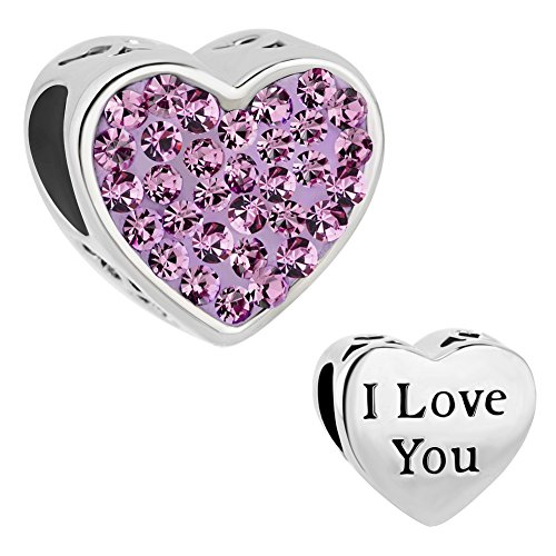 CharmSStory Mom Mother Charm Heart I Love You Synthetic Crystal Beads For Bracelets (LOVE Purple) Crystal Love Heart Charm