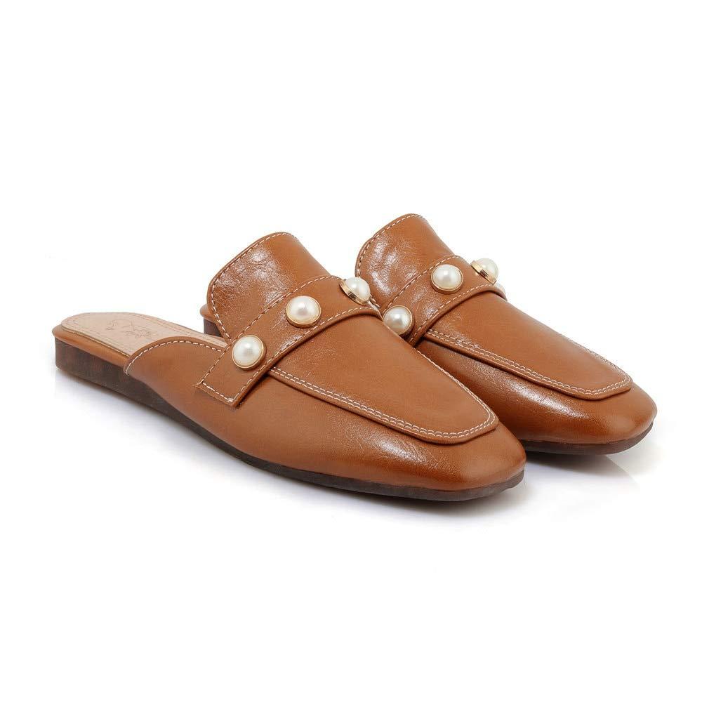 MENGLTX High Heels Sandalen Frauen Frauen Frauen Hausschuhe Einfache Elegante Perle Quadratische Kappe Mode Schuhe Komfortable Flache Sommer Mules Schuhe B07QLV7MW6 Sport- & Outdoorschuhe Wertvolle Boutique 79e5e9