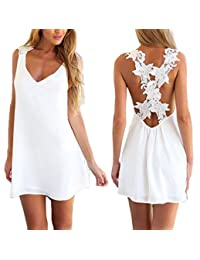I'MQueen Short Sexy White V neck Backless Summer Lace Party Dresses for Women