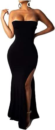 DressUWomen Hombro de la sirena hendidura lateral largo vestido de vendaje para Mujers