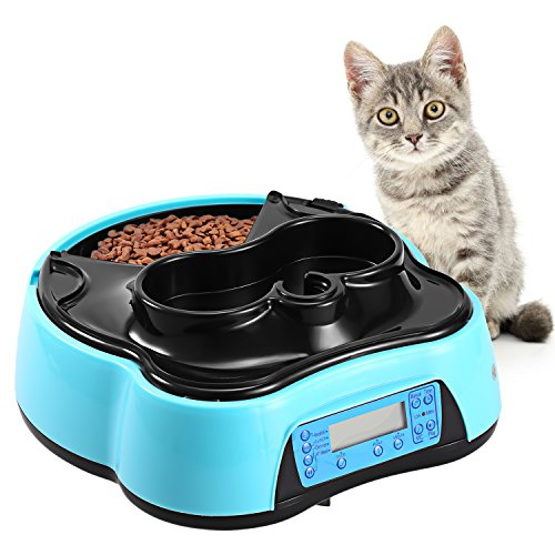 Sailnovo Automatic Pet Feeder 4 Meals Programmable Cat Feeder Water Trays for Dog Puppy