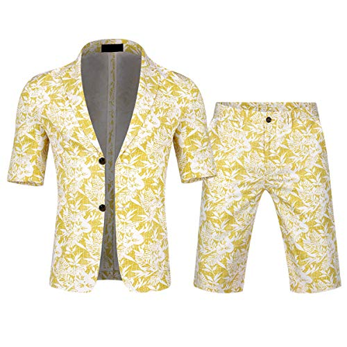 - Men's 2 Piece Tropical Beach Floral Print Short Sleeve Aloha Hawaiian Suit
