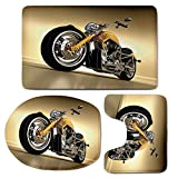 3 Piece Bath Mat Rug Set,Motorcycle,Bathroom Non-Slip Floor Mat,Iron-Custom-Aesthetic-Hobby-Motorbike-Futuristic-Modern-Mirrors-Riding-Theme,Pedestal Rug + Lid Toilet Cover + Bath Mat,Yellow-Silver