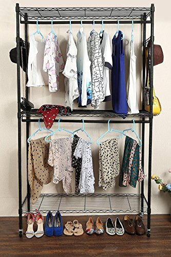 Double Takes Costumes (Leoneva 3-Tier Heavy Duty Commercial Grade Garment Rack with Wheels, Metal Free Standing Garment Rack with Double Rods and 2 Side Hooks)