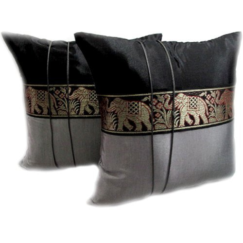 One Pair Elephant Middle Stripe Throw Cushion Cover/Pillow Sham Handmade by Satin and Thai Silk for Decorative Sofa, Car and Living Room Size 16 X 16 Inches by Mr. Thai Silk