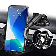 #LightningDeal Phone Car Holder Mount - RAXFLY Windshield/Air Vent/Dashboard Cell Car Phone Holder for Car 360 Degree Rotation Universal Suction Mount Stand Compatible with iPhone 11 Samsung S20 Plus All Smartphones