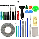 Lifegoo 27 in 1 Repair Tool Screwdriver Kit for iPhone X/ 8/8 Plus/ 7/7 Plus/ 6S/ 6 Plus/ 6/ 5S/ 5C/ 5/ 4S/ 4/ iPad 4/3/ 2/ and More Electronic Devices DIY Fix Tool Kits with Screen Removal Adhesive Sticker