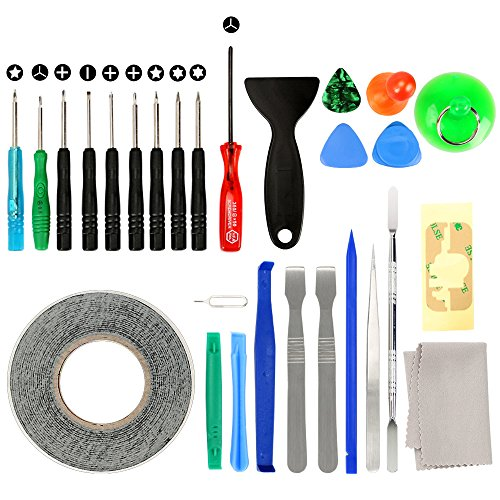 27 in 1 Cell Phone iPhone Repair Screwdriver Kit Tool with Screen Removal Adhesive Sticker for Phones,iPad and More Electronic Devices DIY Fix Tool Kits ()