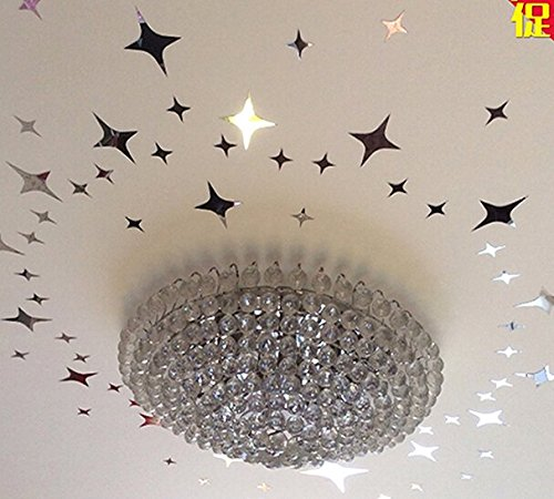 Crystal Clear Wallpaper - Amaonm 3d 31pcs Acrylic Crystal Reflective Diy Mirror Surface Silver Stars Wall Decals Art Decor Wall Sticker for Ceiling Celling Kids Baby Boys and Girls Room Bedroom Bathroom Living Room