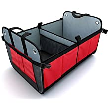 Car Trunk Organizer MECO Auto Storage Box Foldable Storage Bins Collapsible Tidying Box, Auto Sturdy Organizer For Car, SUV, Van, and Truck With Stiff Base Plates For Bottom Support