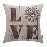 TRENDIN 18'' X 18'' Vintage Farmhouse Love Linen Cushion Cover Sofa Throw Pillow Case PL145TR