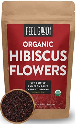 Organic Hibiscus Flowers - Loose Tea (100+ Cups) - Cut & Sifted - 8oz Resealable Bag - 100% Raw From Egypt - by Feel Good Organics