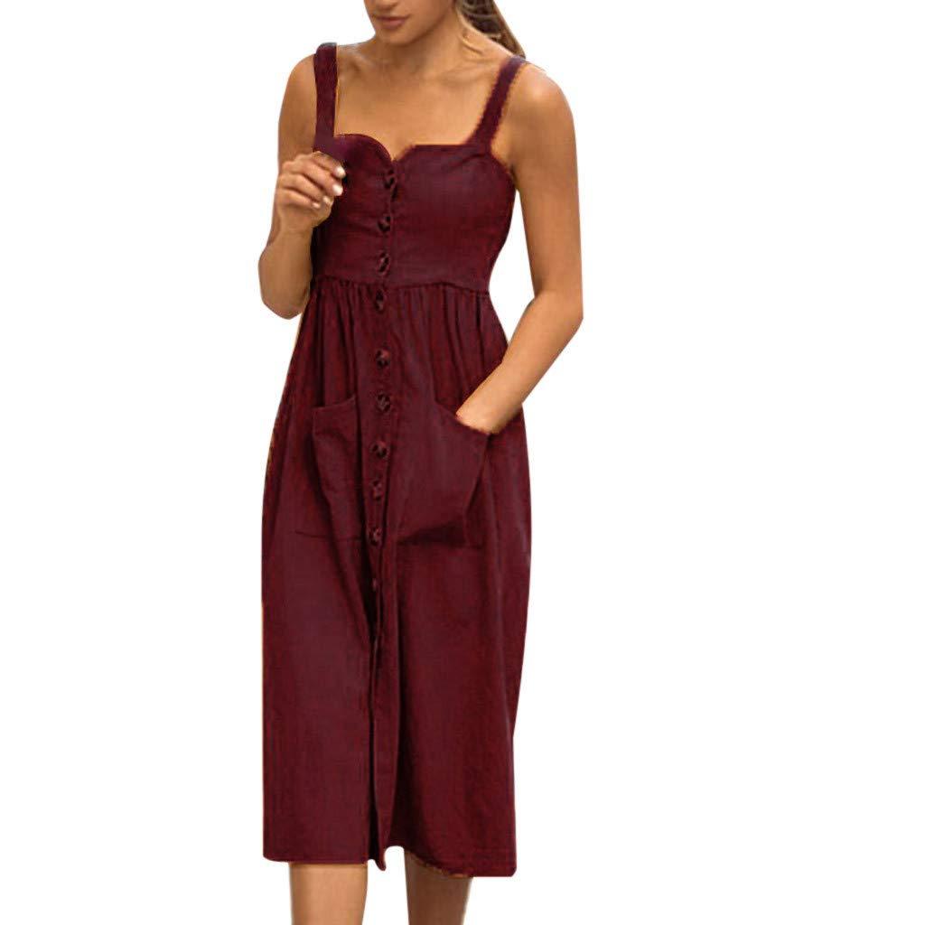 Women's Spring Summer Sling Dresses Straples Solid Color Dress Cotton and Linen Dress Ladies Button Retro Beach Dress (Wine, S)