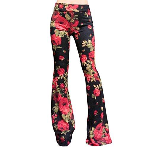 ShopMyTrend SMT Women's High Waist Wide Leg Long Bell Bottom Yoga Pants Small Romantic Rose (Black) Crimson